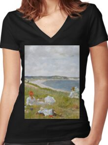 William Merritt Chase - Idle Hours. Picnic painting: picnic time, woman, holiday, people, family, travel, garden, relaxation, rest, game, picnic Women's Fitted V-Neck T-Shirt