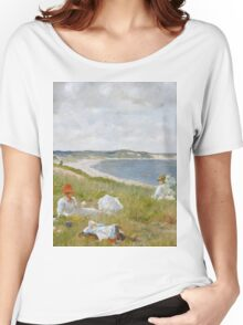 William Merritt Chase - Idle Hours. Picnic painting: picnic time, woman, holiday, people, family, travel, garden, relaxation, rest, game, picnic Women's Relaxed Fit T-Shirt