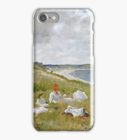William Merritt Chase - Idle Hours. Picnic painting: picnic time, woman, holiday, people, family, travel, garden, relaxation, rest, game, picnic iPhone Case/Skin