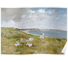 William Merritt Chase - Idle Hours. Picnic painting: picnic time, woman, holiday, people, family, travel, garden, relaxation, rest, game, picnic Poster