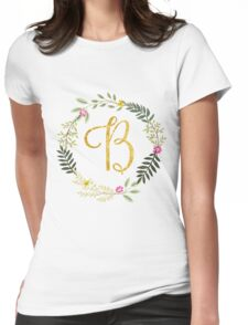 Floral and Gold Initial Monogram B Womens Fitted T-Shirt