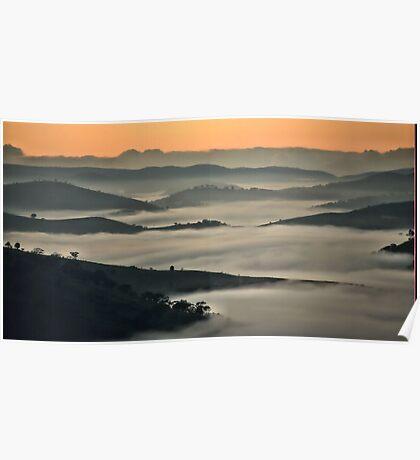 Misty Valley - Hill End NSW Australia Poster