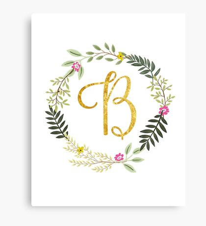 Floral and Gold Initial Monogram B Canvas Print