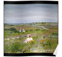 William Merritt Chase - Landscape Shinnecock, Long Island. Picnic painting: picnic time, woman, holiday, people, family, travel, garden, relaxation, rest, game, picnic Poster