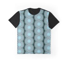 Blue Kaleidoscope/Medallion Print Graphic T-Shirt