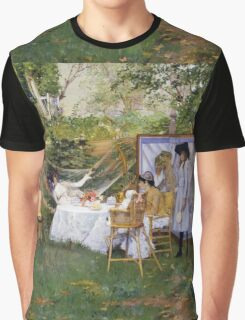 William Merritt Chase - Open Air Breakfast 1888. Country landscape: village, rustic, aristocrats, Open Air, Breakfast, contented, garden, relaxation, life, rest, hammock  Graphic T-Shirt