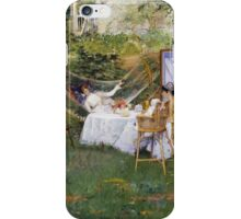 William Merritt Chase - Open Air Breakfast 1888. Country landscape: village, rustic, aristocrats, Open Air, Breakfast, contented, garden, relaxation, life, rest, hammock  iPhone Case/Skin