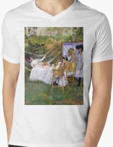 William Merritt Chase - Open Air Breakfast 1888. Country landscape: village, rustic, aristocrats, Open Air, Breakfast, contented, garden, relaxation, life, rest, hammock  Mens V-Neck T-Shirt