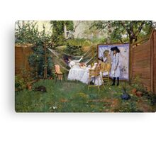 William Merritt Chase - Open Air Breakfast 1888. Country landscape: village, rustic, aristocrats, Open Air, Breakfast, contented, garden, relaxation, life, rest, hammock  Canvas Print