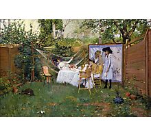 William Merritt Chase - Open Air Breakfast 1888. Country landscape: village, rustic, aristocrats, Open Air, Breakfast, contented, garden, relaxation, life, rest, hammock  Photographic Print