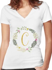 Floral and Gold Initial Monogram C Women's Fitted V-Neck T-Shirt