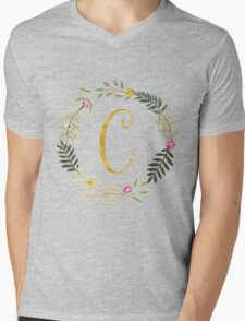 Floral and Gold Initial Monogram C Mens V-Neck T-Shirt