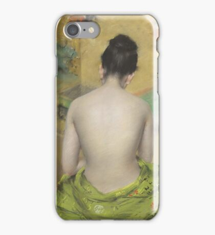 William Merritt Chase - Study Of Flesh Color And Gold 1888. Woman portrait: model,  nude,  nudity ,  naked,  woman ,  naked back,  undressed,  body woman , love, sexy lady, erotic pose iPhone Case/Skin