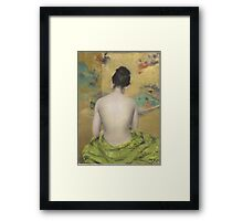 William Merritt Chase - Study Of Flesh Color And Gold 1888. Woman portrait: model,  nude,  nudity ,  naked,  woman ,  naked back,  undressed,  body woman , love, sexy lady, erotic pose Framed Print