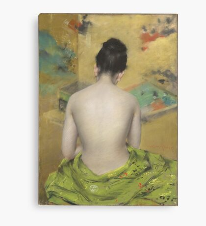 William Merritt Chase - Study Of Flesh Color And Gold 1888. Woman portrait: model,  nude,  nudity ,  naked,  woman ,  naked back,  undressed,  body woman , love, sexy lady, erotic pose Canvas Print