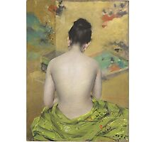 William Merritt Chase - Study Of Flesh Color And Gold 1888. Woman portrait: model,  nude,  nudity ,  naked,  woman ,  naked back,  undressed,  body woman , love, sexy lady, erotic pose Photographic Print