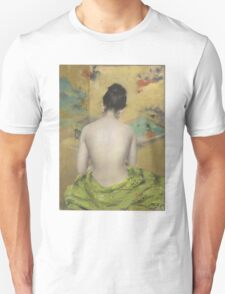William Merritt Chase - Study Of Flesh Color And Gold 1888. Woman portrait: model,  nude,  nudity ,  naked,  woman ,  naked back,  undressed,  body woman , love, sexy lady, erotic pose Unisex T-Shirt