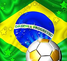 Brazil Flag Gold Green and Soccer Ball by BluedarkArt