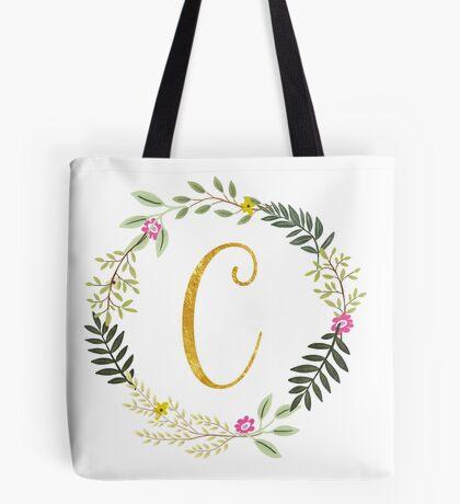 Floral and Gold Initial Monogram C Tote Bag