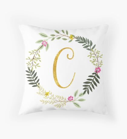 Floral and Gold Initial Monogram C Throw Pillow