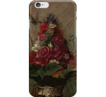 William Merritt Chase - Still Life With Humming bird 1870. Still life with flowers: still life with flowers, flowers, blossom, nature,  bird , floral, roses,  flora, flower, garden, vase iPhone Case/Skin