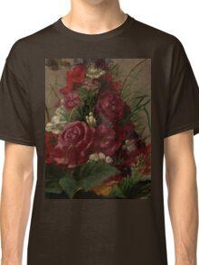 William Merritt Chase - Still Life With Humming bird 1870. Still life with flowers: still life with flowers, flowers, blossom, nature,  bird , floral, roses,  flora, flower, garden, vase Classic T-Shirt