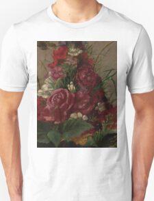 William Merritt Chase - Still Life With Humming bird 1870. Still life with flowers: still life with flowers, flowers, blossom, nature,  bird , floral, roses,  flora, flower, garden, vase Unisex T-Shirt