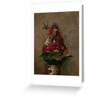 William Merritt Chase - Still Life With Humming bird 1870. Still life with flowers: still life with flowers, flowers, blossom, nature,  bird , floral, roses,  flora, flower, garden, vase Greeting Card