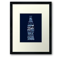 Live Strong - aqua Framed Print