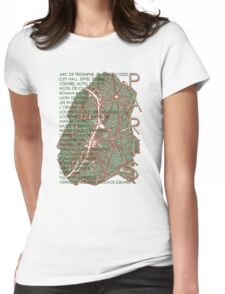 Paris city map engraving Womens Fitted T-Shirt
