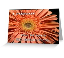"""MESSAGE: """"I forgot.  Tell me again why I should like you..."""" Greeting Card"""