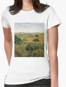 William Merritt Chase - Summer At Shinnecock Hills. Country landscape: Summer , country, travel, garden, rustic, relaxation, rest, game, trees, sun, flowers Womens Fitted T-Shirt
