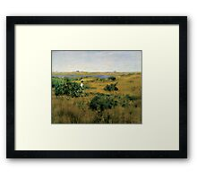 William Merritt Chase - Summer At Shinnecock Hills. Country landscape: Summer , country, travel, garden, rustic, relaxation, rest, game, trees, sun, flowers Framed Print