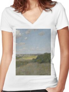 William Merritt Chase - Sunlight And Shadow, Shinnecock Hills. Field landscape: field landscape, nature, village, garden, flowers, trees, sun, rustic, countryside, sky and clouds, summer Women's Fitted V-Neck T-Shirt