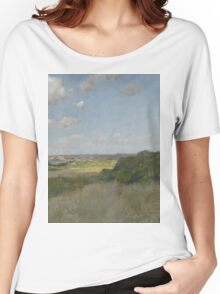 William Merritt Chase - Sunlight And Shadow, Shinnecock Hills. Field landscape: field landscape, nature, village, garden, flowers, trees, sun, rustic, countryside, sky and clouds, summer Women's Relaxed Fit T-Shirt