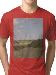 William Merritt Chase - Sunlight And Shadow, Shinnecock Hills. Field landscape: field landscape, nature, village, garden, flowers, trees, sun, rustic, countryside, sky and clouds, summer Tri-blend T-Shirt