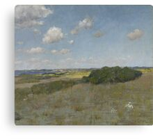 William Merritt Chase - Sunlight And Shadow, Shinnecock Hills. Field landscape: field landscape, nature, village, garden, flowers, trees, sun, rustic, countryside, sky and clouds, summer Canvas Print