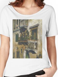 William Merritt Chase - Venice 1877. House landscape: city view, streets, building, balcony, window, cityscape, architecture, construction, travel , panorama, buildings Women's Relaxed Fit T-Shirt