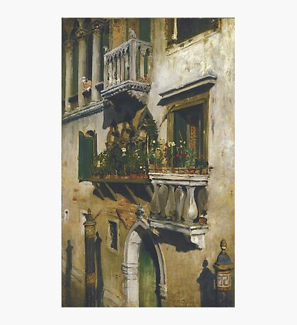 William Merritt Chase - Venice 1877. House landscape: city view, streets, building, balcony, window, cityscape, architecture, construction, travel , panorama, buildings Photographic Print