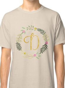 Floral and Gold Initial Monogram D Classic T-Shirt