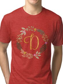 Floral and Gold Initial Monogram D Tri-blend T-Shirt