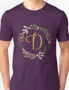Floral and Gold Initial Monogram D Unisex T-Shirt