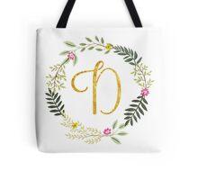 Floral and Gold Initial Monogram D Tote Bag