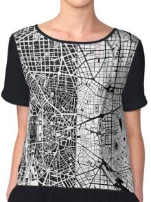 Madrid city map black&white Chiffon Top