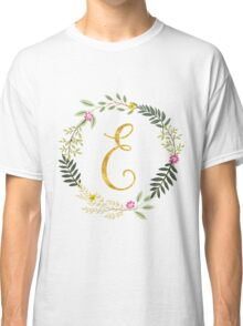 Floral and Gold Initial Monogram E Classic T-Shirt