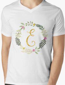 Floral and Gold Initial Monogram E Mens V-Neck T-Shirt