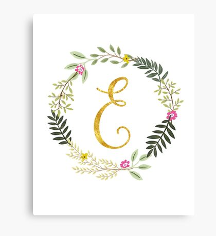 Floral and Gold Initial Monogram E Canvas Print