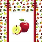 Red Apple and Tutti Frutti Tote Bag With Pretend Front Pocket And Rings by Moonlake