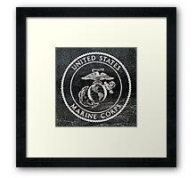 Marine Corp Emblem Polished Granite Framed Print