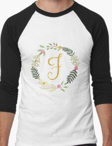 Floral and Gold Initial Monogram F Men's Baseball ¾ T-Shirt